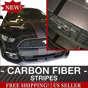 Carbon Fiber Pre cut Mustang Dual Racing Stripes 14 pc Kit For 2015 2016 2017