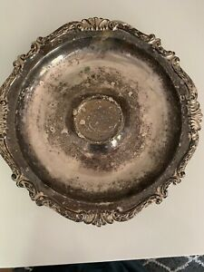 Vintage Sheridan Silverplated Footed Handled Engraved Butler Serving Tray