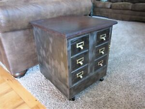 Industrial Cast Iron Wood Library File Cabinet Hardware Storage Chest Wheels