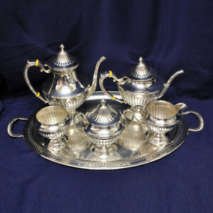 Gorham Ribbed Sterling 6 Piece Coffee Teapot Set With Tray Over 148 Oz Troy