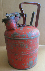 Vintage Justrite Underwriters Laboratories Safety Gas oil Can Works