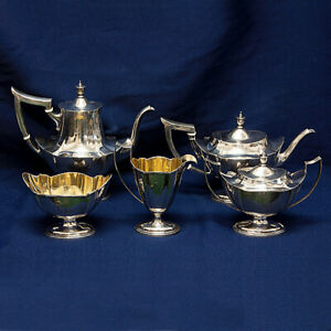 Plymouth Pattern Sterling Silver 5 Piece By Gorham Coffee Teapot Set Over