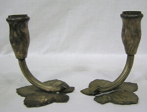 Vintage Pair Silver Plate Candlesticks Made In Germany Us Zone Flower