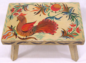 Vintage Folk Art Painted Wood Bench Pa German Type Bird Flowers Old Yellow Paint
