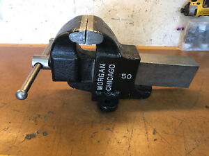 Vintage Morgan Chicago 50 Bench Vise 5 Jaws Opens Up To 8 1 2 Wide 71 Lbs
