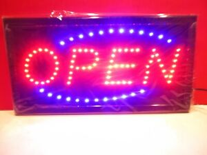 Large 19 X 10 Bright Led Animated Open Store Shop Food Business Sign Display
