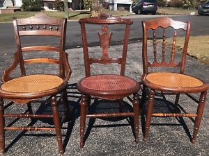 Set Of 9 Victorian Walnut Cane Bottom Dining Chairs Dark Brown Caning Is Perfect