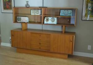 Credenza Mid Century Modern Sideboard Buffet With Glass Display Walnut Teak