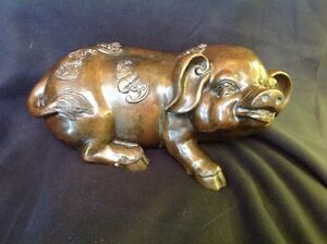 15 Chinese Fengshui Bronze Zodiac Pigs With Bats Statue