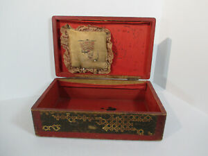 Wooden Sewing Box Painted Design Pincushion Vintage Primitive Red Interior