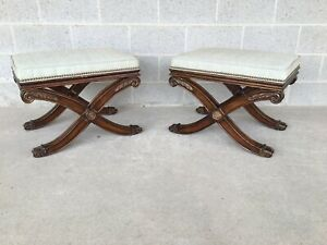 Ethan Allen French Regency X Base Upholstered Foot Stools A Pair 13 7180 438