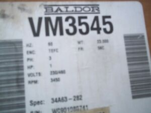 Baldor Vm3545 3 Ph 1 Hp Motor