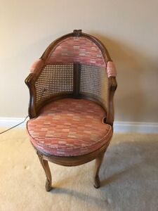 French Country Louis Xv Style Swivel Vanity Chair Cane Back Boudoir Seat Walnut