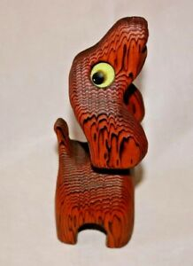 Vintage Witco Tiki Wood Dog Puppy 8 Mid Century Modern Art Sculpture Figure