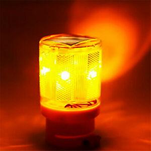Solar 6 Led Flashing Amber Strobe Beacon Emergency Warning Light Car Lamp Light