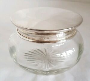 A Cut Glass Dressing Table Vanity Jar Sterling Silver Cover London 1931