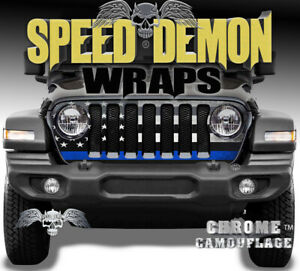 Jeep Wrangler Jl Grill Wrap Thin Blue Line Police Flag Vinyl Decal 2018 19