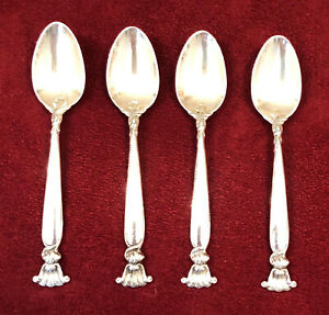 4 Wallace Sterling Silver Romance Of The Sea Pattern Demitasse Spoons Nomonogram
