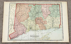 1906 Connecticut Map Railroads Counties Townships Large Double Page Color
