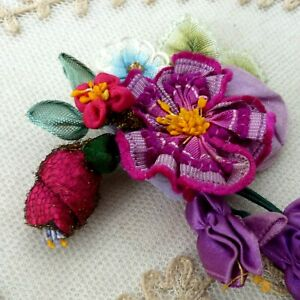 French Ribbon Work Flowers Applique