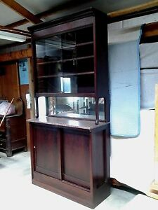 Pharmacy Cabinet Back Bar With Pink Marble And Mirror Mahogany 1922 Vintage