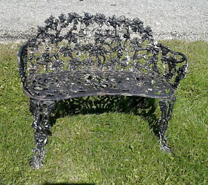 Antique Victorian Cast Iron Grape Leaf Garden Bench Old Black Paint 1930s Era