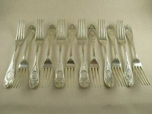 Medallion By Hall Elton Silverplate Set Of 12 Dinner Forks 7 7 8 Excellent