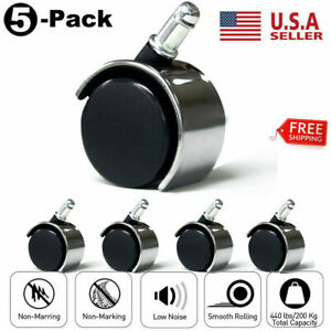 5pcs Office Chair Caster Swivel Wheels Replacement Heavy Duty 2 Inch