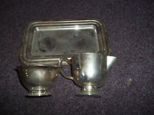 Vintage Silver Plated Sugar Bowl And Creamer And Tray Apx 3x4 Tray 8x5 Crome Fin