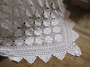 Divine Antique Vintage French Lacy Hand Made Bed Cover 79 X79