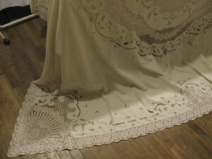 Antique Vintage French Bed Cover Stunning Embroidery Cutwork Lace 90 X 105 Ecru