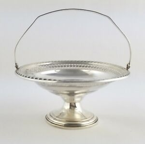 Vintage Sterling Silver Footed Basket Compote Candy Dish Hinged Handle Weighted