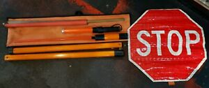 Flagger Kit Slow Stop Reflective Roll Up 24 Traffic Sign 5 Pvc Pole Wand Flag
