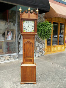 Outstanding English Oak Tall Case Clock With Wonderful Inlay 19th Century