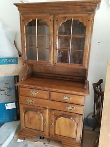 Pioneer Treasurer Solid Maple Cabinet And Glass Hutch Display By Temple Stuart
