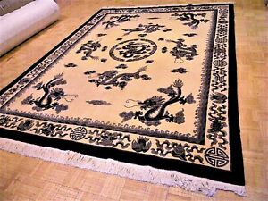 9x12 Chinese Rug Vintage Dragon Nichols Authentic Hand Made Oriental Rug 1960s
