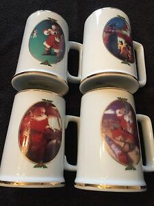 Santa Claus Coca Cola Mugs Coffee '96 Collector Edition Set Of 4