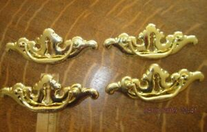 4 Large Shiny Solid Brass Drawer Pulls With Cut Out Key Hole Design And Handles