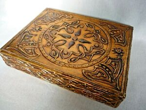 Vintage Ornate Arts Crafts Style Gilded Wooden Cigar Jewellery Box Hinged Lid