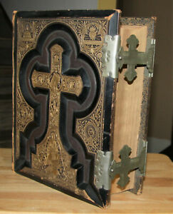 Large Antique C1885 Catholic Family Bible Douay Rheims Clasps Original Nice