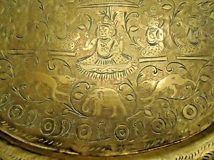 Antique Brass Tray Oval India Buddhist Deity Elephants Tigers Intricate Details