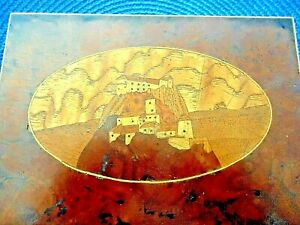Antique German Burl Wood Box Intricate Inlaid Wood Castle Late 1800 S