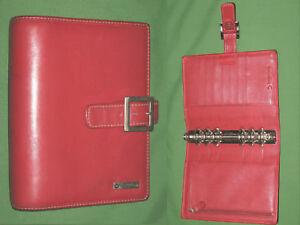 Compact 1 25 Red Leather Franklin Covey Planner Organizer Binder Open 3614