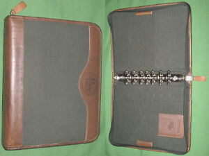 Classic 1 5 Green Canvas Brown Leather Franklin Covey Planner Binder 4296