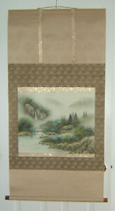 Vintage Japanese Asian Hanging Scroll Hand Painted Signed Mountain Scene