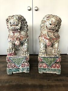 Pair Large Antique Polychrome Carved Wood Temple Foo Dog Statues 28 Inches