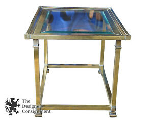 Mastercraft Brass Side Accent Table Beveled Glass Top Hollywood Regency Mcm 28