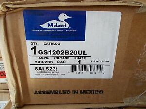 Midwest Gs1202b20ul 200 200amp 240v 1ph Double Throw Disc
