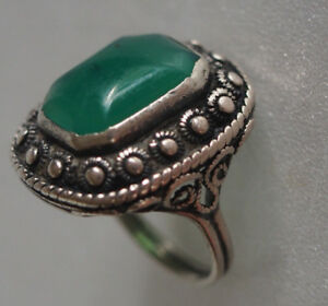 Large Vtg Green Onyx Faceted Hexagon Stone Jade Alike Filigree Silver Ring 6 75