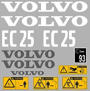 Volvo Ec25 Digger Complete Decal Sticker Set With Safety Warning Decals